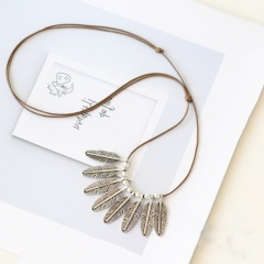 Silver Fashion Feather Long Chain Necklace Wholesale Feather