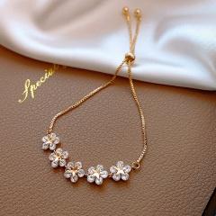 Wholesale Crystal Flower Adjustable Gold Bracelet Gold