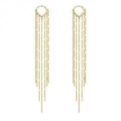 Silver Gold Heart Chain Tassel Long Earring Jewelry Wholesale Gold