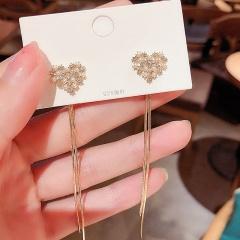 Gold Pearl Long Chain Stud Earring Jewelry Heart