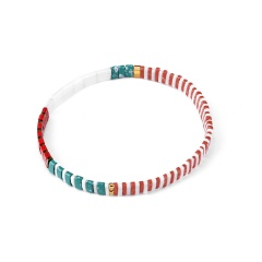 Wholesale Fashion Color Mixed Square Rice Beads Elastic Bracelet 1
