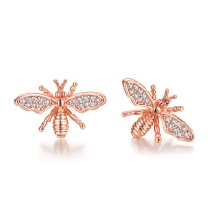 Gold CZ Stone Small Bee Flower Pins Brooches Jewelry A