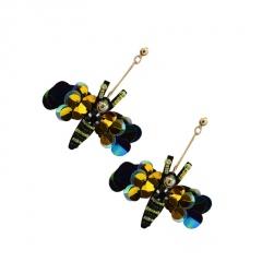 Fashion Long Bee Multicolor Stud Earrings Black