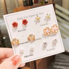 6 Pairs/Set Korean Fashion Sweet Earring Set G