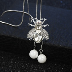 Silver White Crystal Rhinestone Sweater Long Chain Necklace Bee