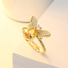 Fashion Gold Crystal Rhinestone Bee Rings Jewelry Gold
