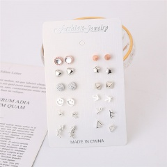 12 Pairs/Card Silver Star Simle Small Stud Earrings Wholesale Circle