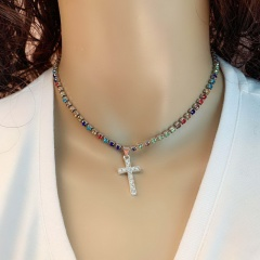 Multicolor Gemstone Chain Charm Cross Necklace Jewelry Wholesale Multi Silver