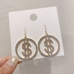 Circle Dollar Diamond Dangle Hook Earrings Jewelry Wholesale Gold