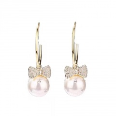 Gold Rhinestone Pearl Circle Stud Dangle Earrings Jewelry Bowknot