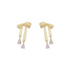 Gold Butterfly Series Long Chain Earrings Jewelry Bowknot
