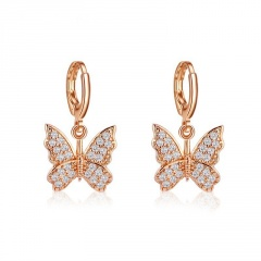 Fashion KC Gold Rhinestone Butterfly Hook Earring Jewelry Gold
