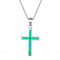 Silver Cross Pendant Chain Necklace Jewelry Wholesale Green