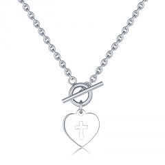 Silver Heart Cross Simple Pendant Chain Necklace for Women Heart