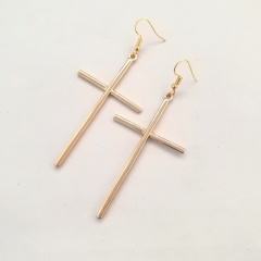 Simple Cross Ear Hook Earrings fow Women Gold