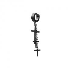 1 Piece Cross Black Chain Earring Wholesale Black
