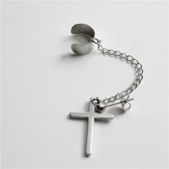 1 Piece Cross Black Simple Chain Earring Wholesale Silver