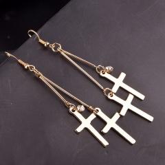 Cross Crystal Tassel Long Earrings Wholesale Gold
