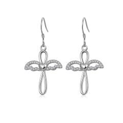 Silver Rhinestone Long Tassel Cross Earring Wholesale Wings Cross