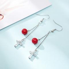 Silver Brass Zircon Stone Long Chain Earrings Jewelry Red