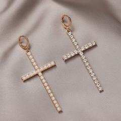 Gold Rhinestone Cross Dangle Earring Jewelry Cross-B