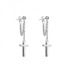 Brass Silver Cross Long Chain Earring Wholesale Silver Cross