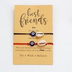 2 Pieces/Set Evil Eyes Rope Adjustable Bracelet Wholesale Shell