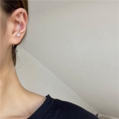 1 Piece Gold Brass Zircon Stone Simple Ear Bone Clip Earrings Silver