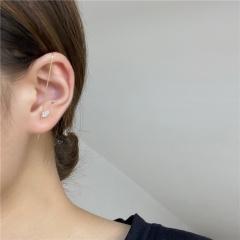 1 Piece Gold Brass Zircon Stone Simple Ear Bone Clip Earrings Gold