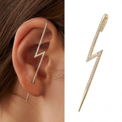 1 Piece Gold Brass CZ Stone Lightning Shape Earring Gold