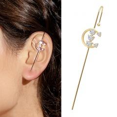 1 Piece Gold Brass CZ Stone Moon Ear Earring Wholesale Moon