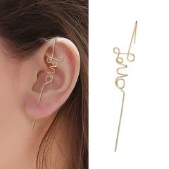1 Piece Brass Love Simple Earrings for Women Gold
