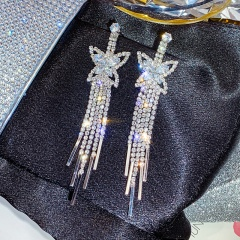 Large Shinning Beautiful Stud Earring Jewelry Wholesale Butterfly