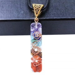 Colorful Seven Chakra Epoxy Natural Stone Pendant Leather Necklace Style 1