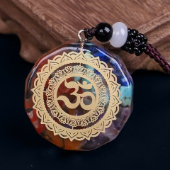 Colorful Seven Chakra Epoxy Natural Stone Pendant Sweater Long Necklace Style 3
