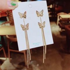 Gold Long Tassel Butterfly Stud Earring Wholesale style 1
