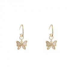 Gold Long Tassel Pearl Stone Butterfly Stud Earring Wholesale style 1