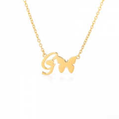 Fashion Gold Stainless Steel Butterfly Letter Chain Necklace Jewelry H