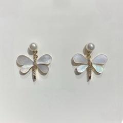 Diamond Dragonfly Bow Stud Hoop Earrings style 1