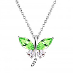 Silver Crystal Dargonfly Pendant Chain Necklace Wholesale green
