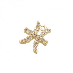 gold 12 constellation zircon stone ear hook earrings wholesale Pieces