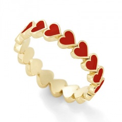 gold red black heart drop oil rings for women red