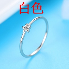 simple petal small flower stone rings wholesale silver