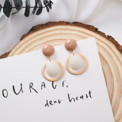 Candy Color Round Button Water Drop Round Stud Earrings style 2