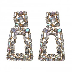 geometric shinning full diamond rhinestone earrings white