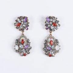 Fashion Full Diamond Flower Dangle Earrings style 1