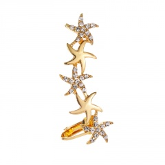 Charm Crystal Rhinestone Ear Clip Hanging Earrings Party Jewelry Gift Starfish-gold