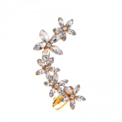 Charm Crystal Rhinestone Ear Clip Hanging Earrings Party Jewelry Gift Flower-gold