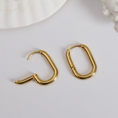 Large Gold Rectangular U-shaped Geometric Ear Hoop Earrings gold