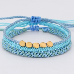 3 Pieces/Set Hand-woven Adjustable Rope Bracelet Set Blue
